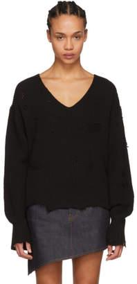 Helmut Lang Black Distressed Sweater
