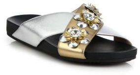Fendi Flowerland Metallic Leather & Crystal Crisscross Slides