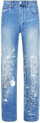 Burberry Scribble Print Straight-Leg Jeans