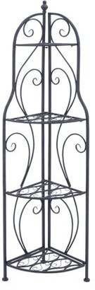 DecMode Decmode Traditional 4-Tiered Metal Corner Rack With Semi-Circular Shelves, Black