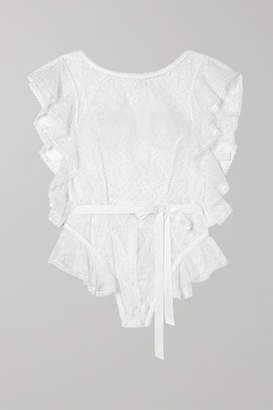 Agent Provocateur Fee Ruffle-trimmed Lace Thong Bodysuit - White