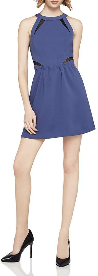 Mesh-Inset Fit-and-Flare Dress