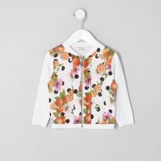 River Island Mini girls white orange print zip up cardigan