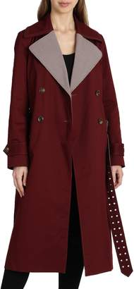 Badgley Mischka Plaid Lapels Trench Coat