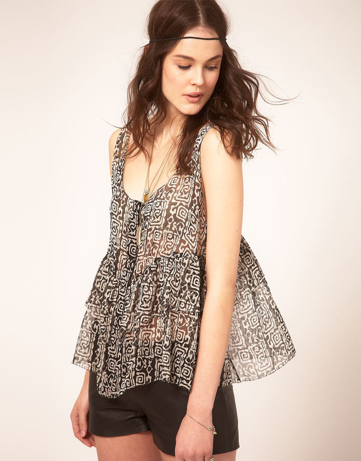 Winter Kate Shanti Tiered Blouse in Printed Silk