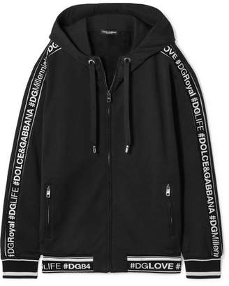 Dolce & Gabbana Hooded Intarsia-trimmed Cotton-jersey Track Jacket - Black
