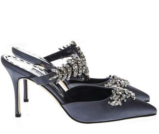 Manolo Blahnik Blue Navy Mules Lurum In Satin With Crystal Details