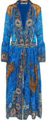Etro - Printed Plissé-silk Maxi Dress - Blue $5,190 thestylecure.com
