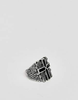 Asos DESIGN chunky ring with cross in burnished silver tone