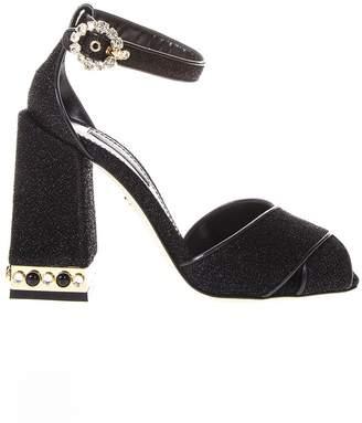 Dolce & Gabbana Black Lurex Stone Embellished Sandals