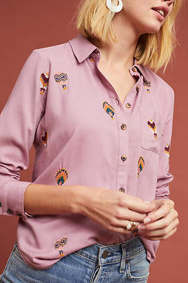 Anthropologie County Fair Embroidered Buttondown