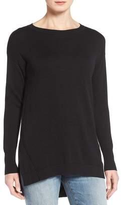 Caslon Zip Back High/Low Tunic Sweater (Petite)