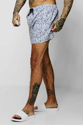 boohoo Paint Splatter Mid Length Swim Short