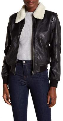 BB Dakota Burgess Faux Shearling Collar Leather Jacket