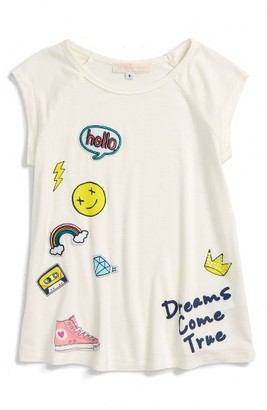 Toddler Girl's Truly Me Hello Dreams Patch Tee $26 thestylecure.com