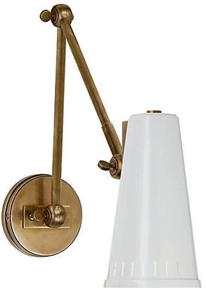 Visual Comfort & Co. Antonio Two-Arm Adjustable Sconce - Brass/White