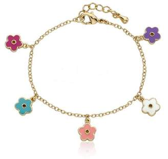 Little Miss Twin Stars Frosted Flower 14k Gold-Plated colored Enamel Flowers Charm Bracelet