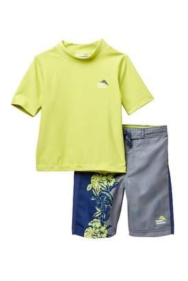 Tommy Bahama Rashguard Top & Board Shorts Set (Toddler Boys)