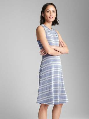 Gap Sleeveless Ribbed Stripe Fit and Flare Midi Dress