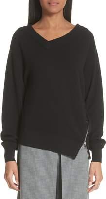 Alexander Wang Asymmetrical Side Zip Wool & Cashmere Blend Sweater