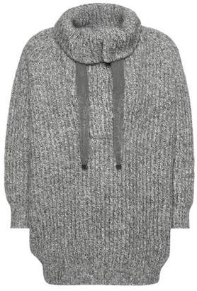 Brunello Cucinelli Ribbed Embellished Cashgora Wool Cashmere And Silk-Blend Sweater
