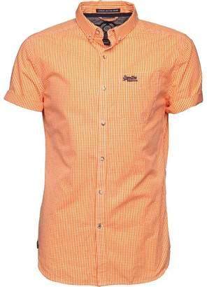 Superdry Mens London Button Down Short Sleeve Shirt Hartwell Orange Gingham