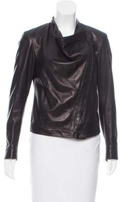 Donna Karan Leather Zip-Up Jacket
