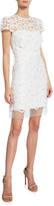 Milly Nina 3D Embellished Cap-Sleeve Lace Dress