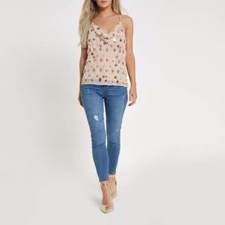 River Island Petite pink sequin and bead embellished cami