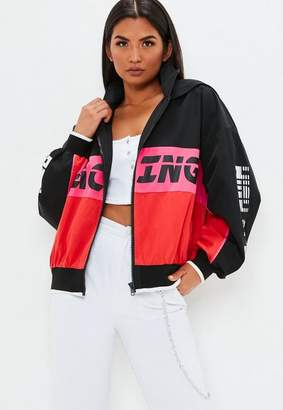 Missguided Black Racing Colour Block Windbreaker Jacket, Pink