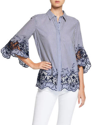 Elie Tahari Clark Striped Button-Down Shirt with Embroidered Lace Insets