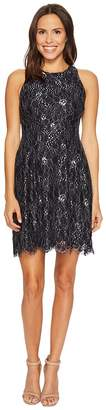 Vince Camuto Lace Fit and Flare Dress w/ Keyhole at Back Women's Dress