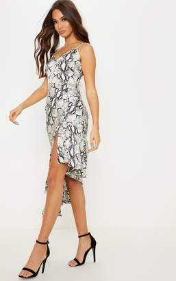 PrettyLittleThing Grey Snake Print Plunge Asymmetric Hem Midi Dress