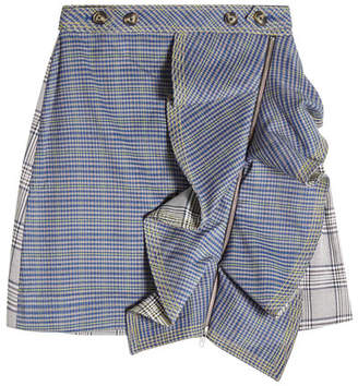 Self-Portrait Flounced Check Skirt with Zipped Front