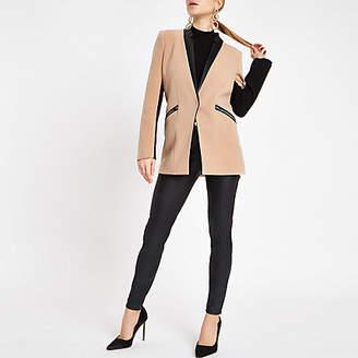 River Island Womens Light Brown zip pocket blazer