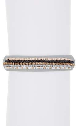 Rebecca Minkoff Stripe Beaded Leather Friendship Bracelet