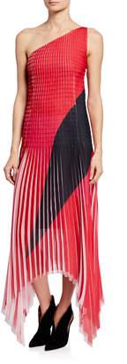Akris One-Shoulder Plisse Georgette Dress