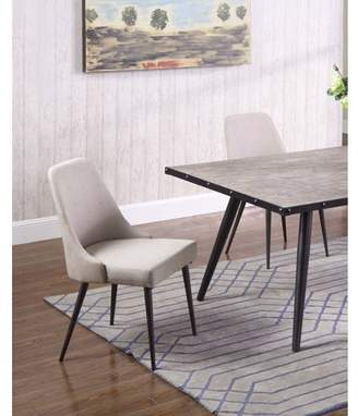 Best Master Furniture Marley Natural Fabric with Metal Dining Side Chair, Set of 2