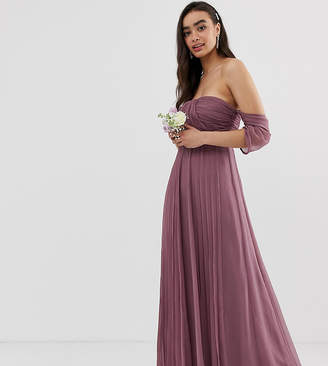 Bardot Asos Design ASOS DESIGN Bridesmaid ruched pleated maxi dress