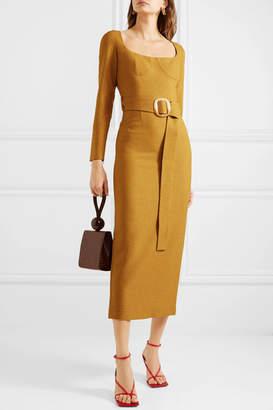 MATÉRIEL Belted Woven Midi Dress - Mustard