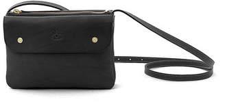 Il Bisonte Cowhide Leather Flap Crossbody Bag, Black