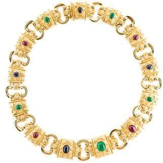 18K Ruby, Emerald, Sapphire & Diamond Necklace
