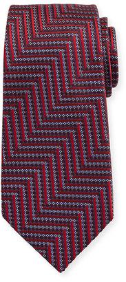 Ermenegildo Zegna Geometric Herringbone Silk Tie, Red/Silver $245 thestylecure.com