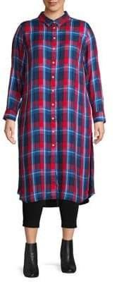Levi's Plus Multicoloured Plaid Duster Shirtdress