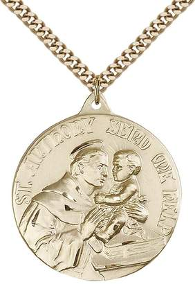 """Anthony Logistics For Men F.A. Dumont Church Supplies 14kt Gold Filled St. Pendant with 24"""" Gold Plated, Stainless Steel Heavy Curb Chain. Patron Saint of Lost Articles/Poor"""