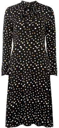 Dorothy Perkins Womens Black Spotted Pussybow Jersey Midi Skater Dress