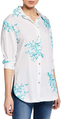 Finley Coral Reef Printed Poplin Boyfriend Shirt