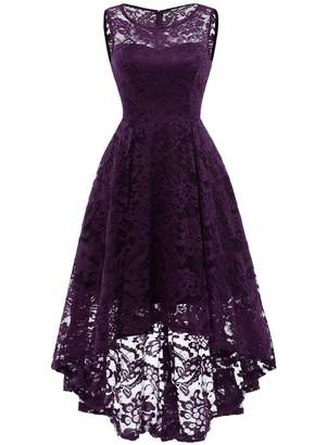 MUADRESS 6006 Women's Vintage Floral Lace Sleeveless Hi-Lo Cocktail Formal Swing Dress XL