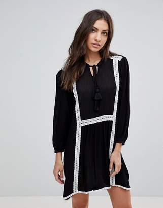ENGLISH FACTORY The Long Sleeve Smock Dress With Lace Trim And Slip Dress