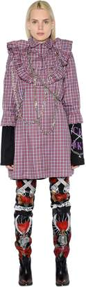 Vetements Plaid Cotton Poplin Dress W/Chains